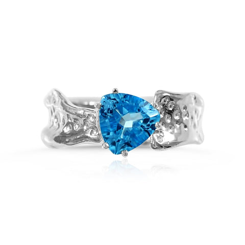 Ripple Ring Builder_8mm Trillion Cut Blue Topaz_by Kristen Baird®