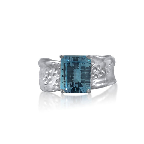 Ripple Ring Builder 8x10 Emerald Cut Blue Topaz by Kristen Baird®