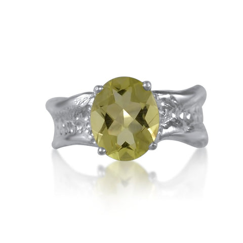 Ripple Ring Builder 9x11 Oval Cut Lemon Quartz by Kristen Baird®