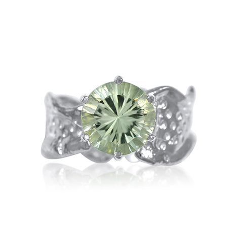 Ripple Ring Builder - 10mm Round Cut Green Amethyst_by Kristen Baird®