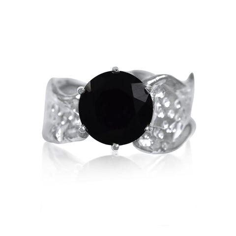 Ripple Ring Builder - 10mm Round Cut Onyx_by Kristen Baird®