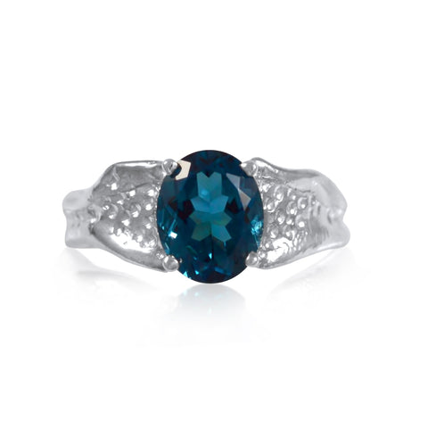 Ripple Ring Builder 8x10mm Oval Cut Blue Topaz by Kristen Baird