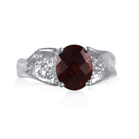 Ripple Ring Builder 8x10mm Oval Cut_Garnet_by Kristen Baird®