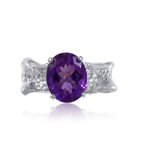 Ripple Ring Builder 9x11mm Oval Cut Amethyst Ring by Kristen Baird