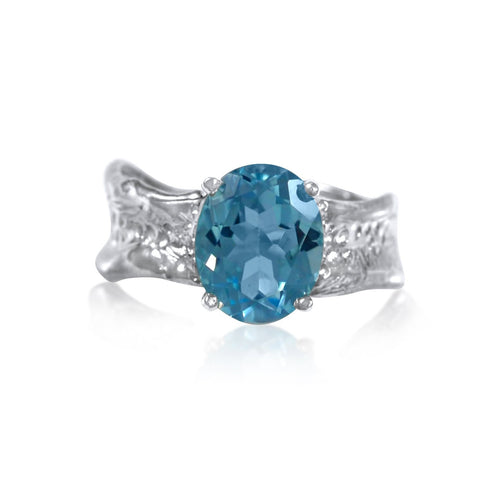 Ripple Ring Builder 9x11mm Oval Cut Blue Topaz Ring by Kristen Baird