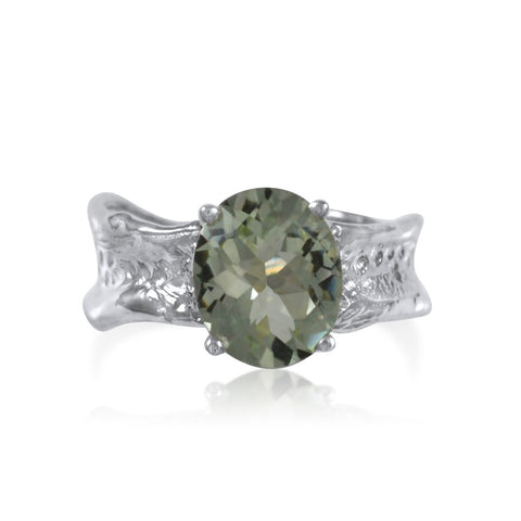Ripple Ring Builder 9x11mm Oval Cut Green Amethyst Ring by Kristen Baird