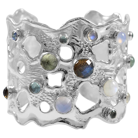 Splash 2 inch Cuff with Stones - Labradorite - by Kristen Baird®