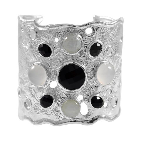 Splash 2 inch Cuff with Stones - Onyx - by Kristen Baird®
