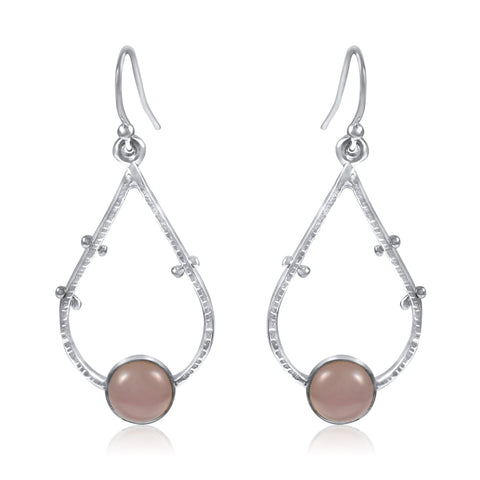 Supernova Earrings Medium - Rose Quartz - By Kristen Baird Jewelry