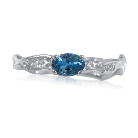 Ripple Ring Builder 4x6mm E/W Oval Cut Blue Topaz Ring by Kristen Baird