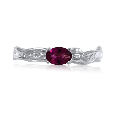 Ripple Ring Builder 4x6mm E/W Oval Cut Rhodalite Garnet Ring by Kristen Baird