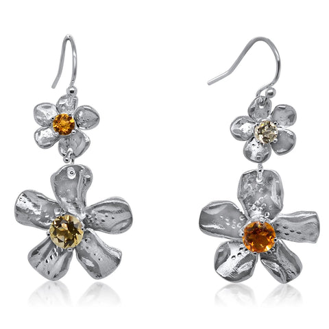 Deux-Fleur de Cerisier Gem Earrings in Yellow Palette_Kristen Baird®