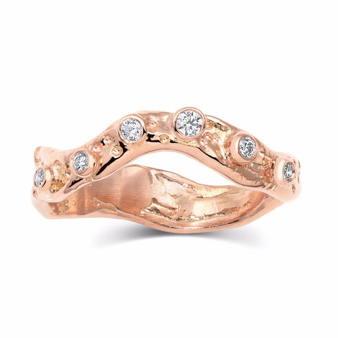 Kristen Baird Rose Gold Alternative wedding Band with Diamonds