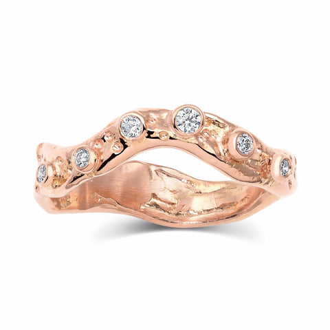 Kristen Baird Rose Gold Alternative wedding band with Diamonds Set
