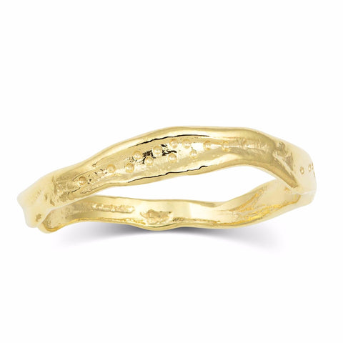 18K Yellow Gold Alternative Wedding Band Stacking Ring Handcrafted by Kristen Baird