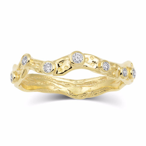 Kristen Baird Yellow Gold Alternative Wedding Band 7 Diamond Ring Ebb and Flow