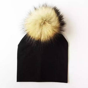 Black With Natural Pom Beanie | Baby/ Toddler