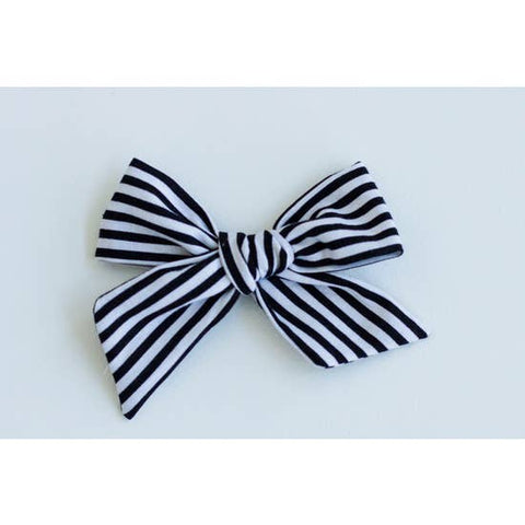 Black and White Stripe Bow
