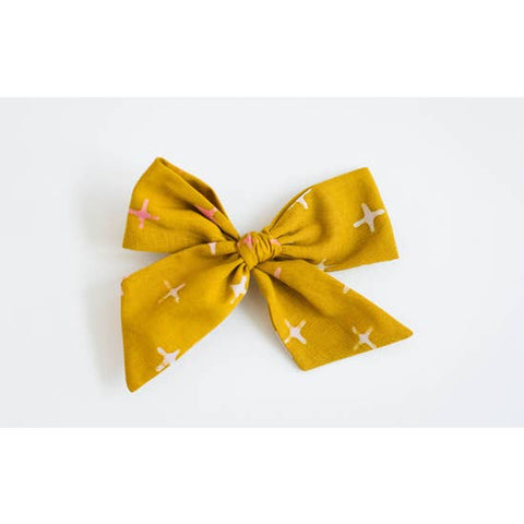 Mustard With Pink X Bow