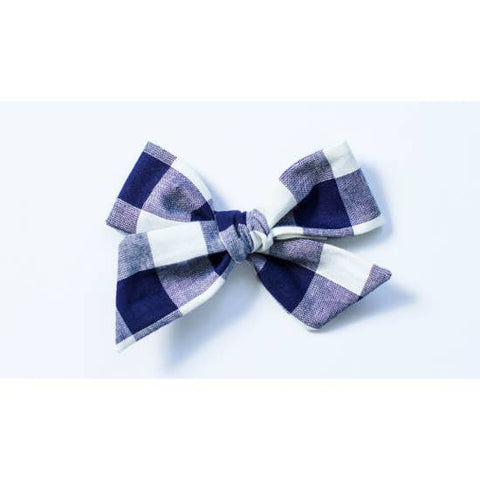 Navy and White Buffalo Check Bow