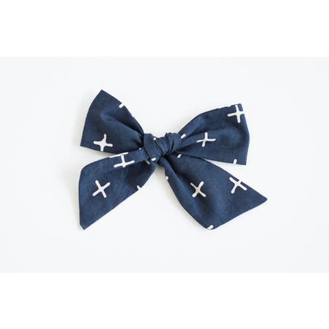 Navy with White X Bow
