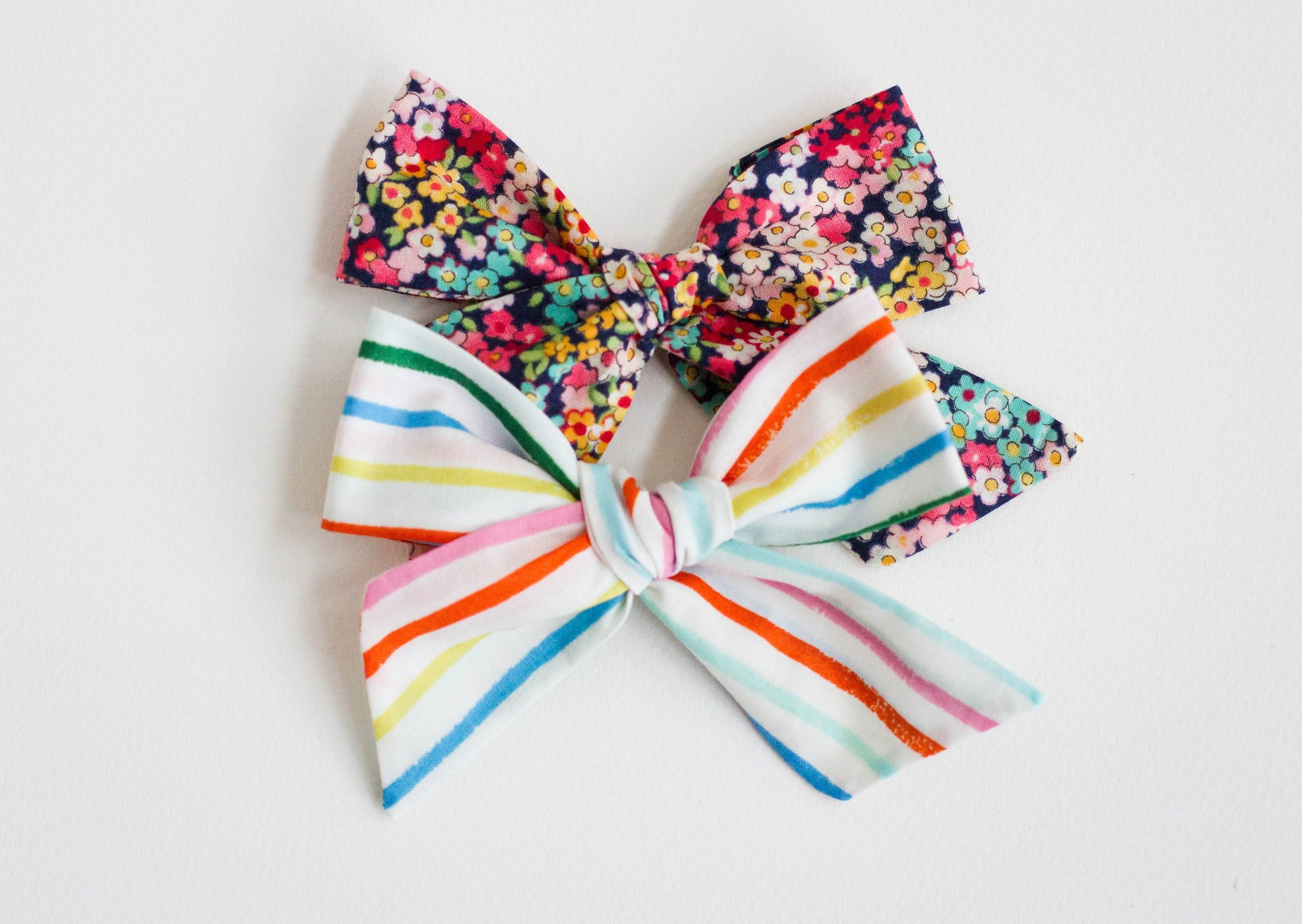 Floral and Stripes TWO PACK of Bows