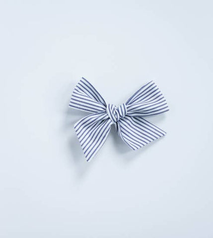 Grey and White Stripe Bow