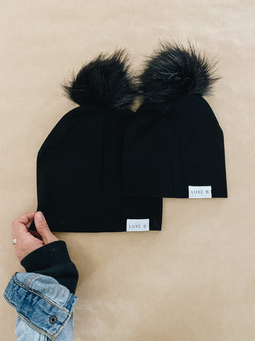 Mommy And Me Beanie | Black with Black Set