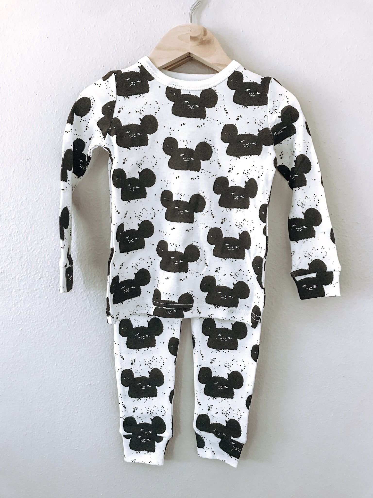 Organic Mouse Pajama Set- White