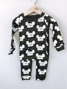 Organic Mouse Pajama Set- Black