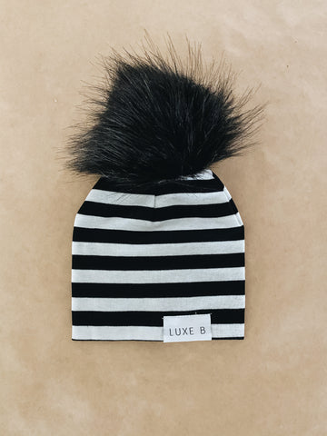 Stripes With Black Pom Beanie