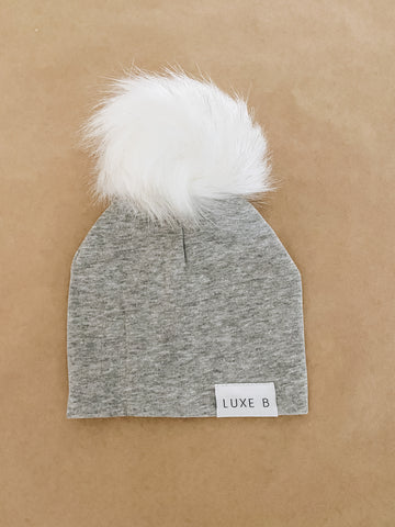 Light Grey With White Pom Beanie Newborn