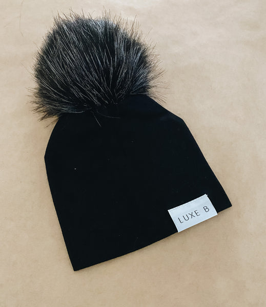 Black With Black Pom Beanie Newborn