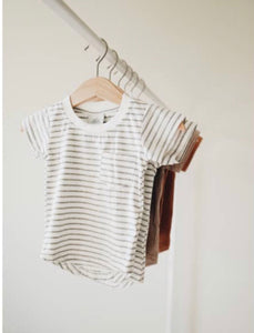 Pocket Tee- Grey Stripe