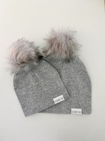 Mommy And Me Beanie | Light Grey with Grey Set