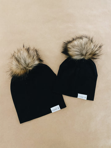 Mommy And Me Beanie | Black with Natural Set
