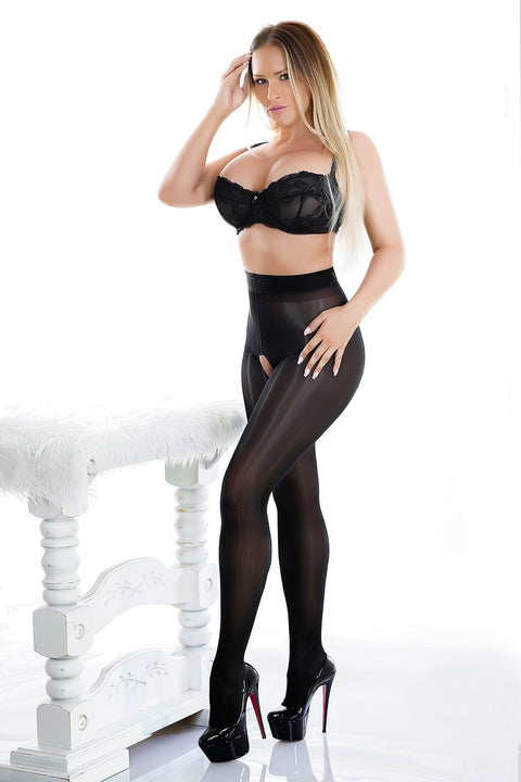 Crotchless Pantyhose - Black