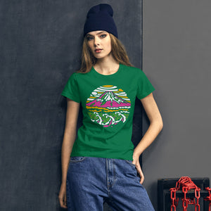 Mount Fuji Colorful Manhole Cover on Women's T-Shirt