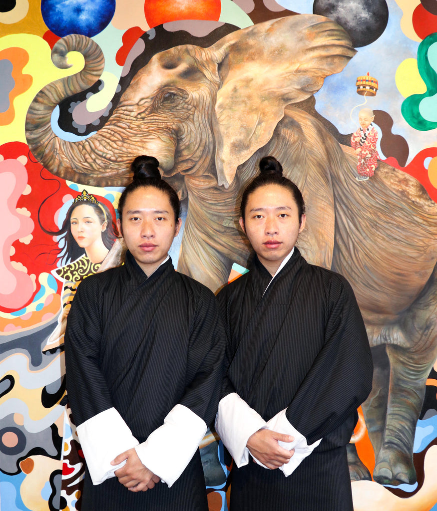 Twinz artist, contemporary painters from Bhutan, in their Thimphu studio