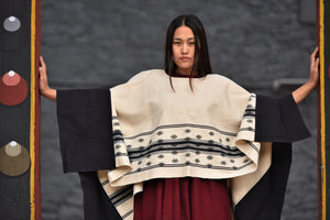 'SUMCHU' Handwoven Raw Silk Poncho for Her