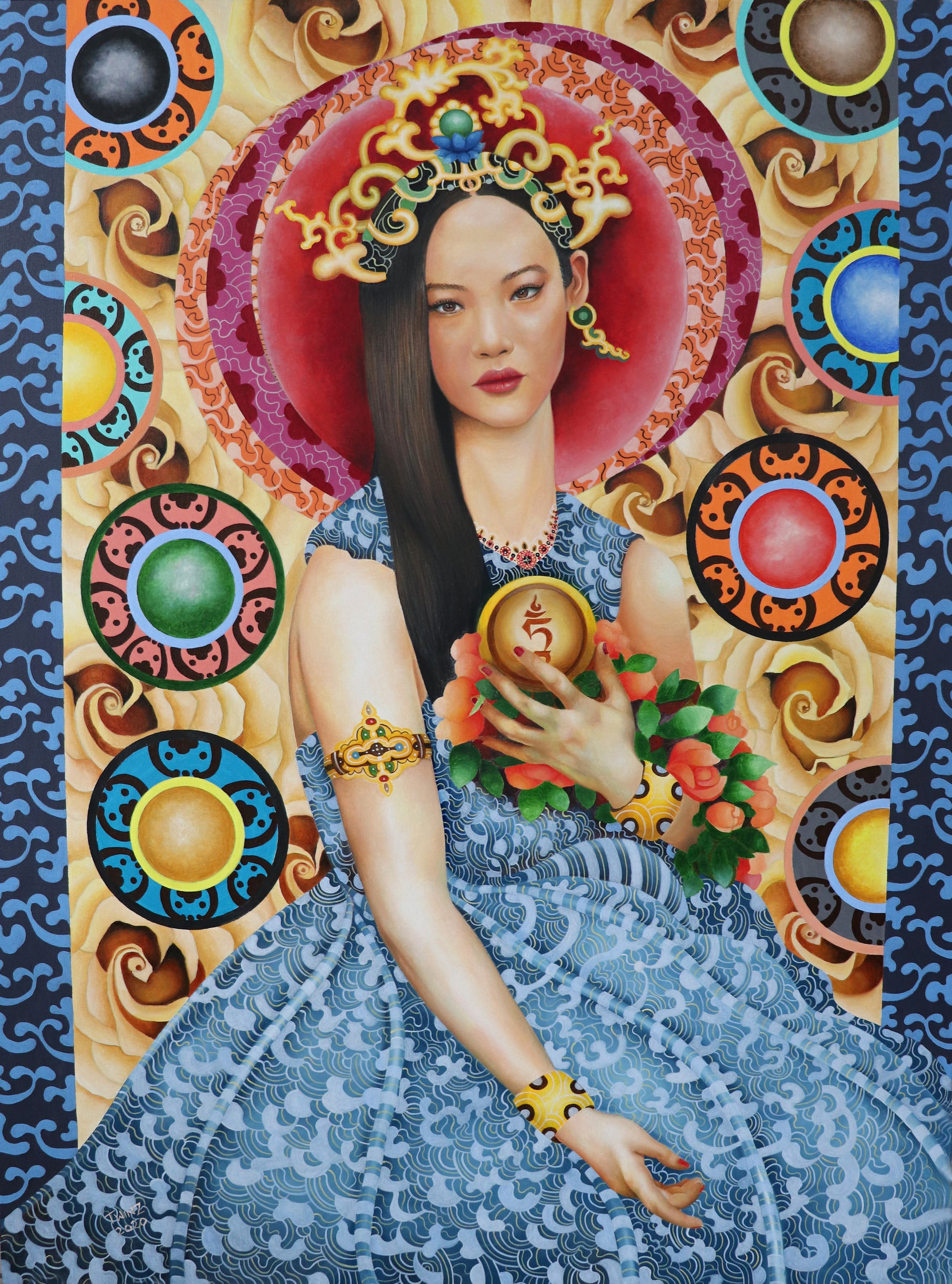 'HOLDER OF THE TAM MEDALLION' - Contemporary Bhutanese Painting