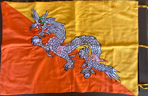 The National Flag of Bhutan - handmade with embroidered dragon