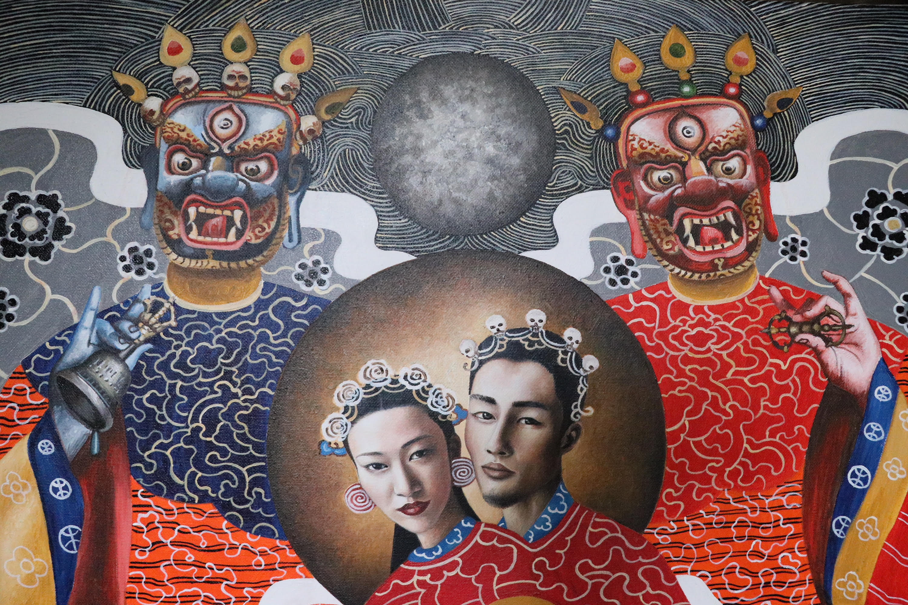"Yab-yum (""father-mother"") is a common symbol in the Buddhist art of India, Bhutan, Nepal, and Tibet. It represents the primordial union of wisdom and compassion."