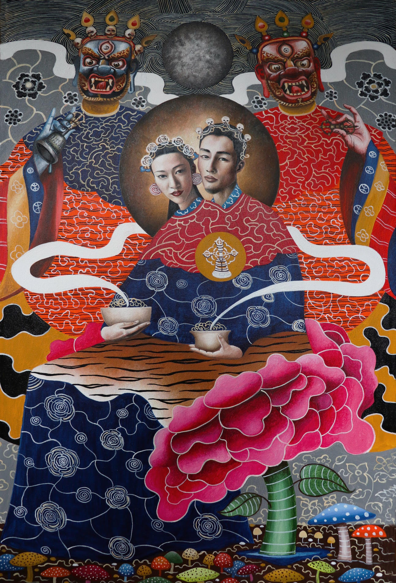 "TWINZ ARTISTS, 2019, Bhutan - - Yab-yum (""father-mother"") is a common symbol in the Buddhist art of India, Bhutan, Nepal, and Tibet. It represents the primordial union of wisdom and compassion."