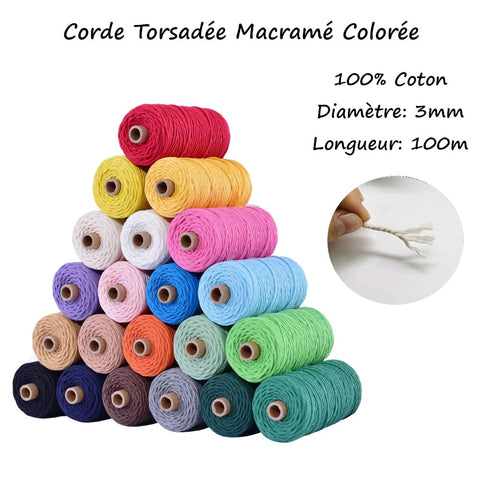 corde macramé coloré 3 mm | Passion Attrape Reve