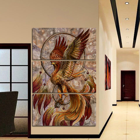 grand tableau attrape reve mural phoenix 3 parties salon