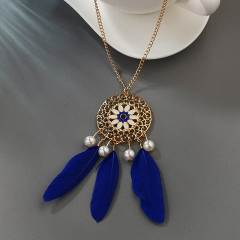 collier long attrape reve bleu