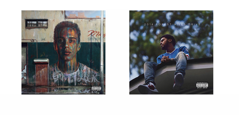 Album Cover for Under Pressure by Logic and 2014 Forrest Hills Drive by J Cole- The Sound Dome