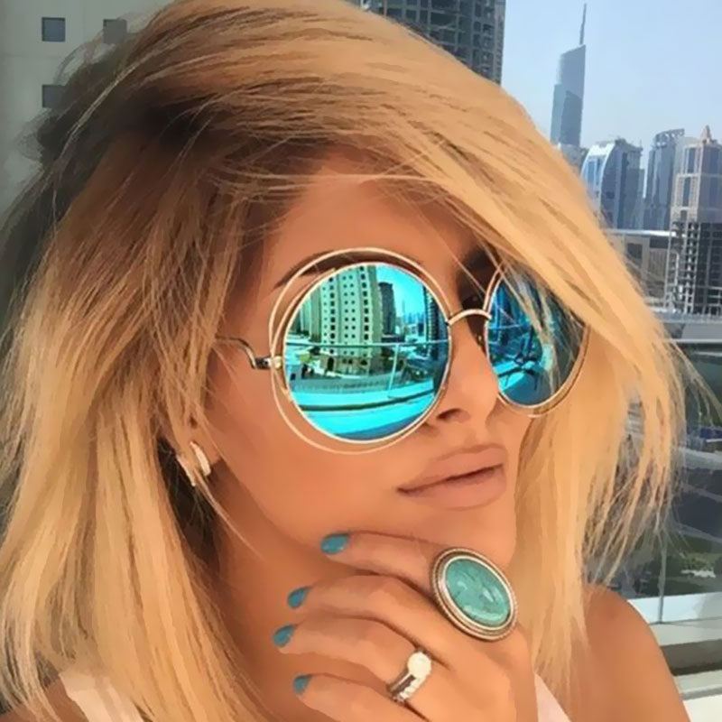 VictoryLip Oversized lens Mirror Brand Designer Rose Gold Sunglasses Lady Cool UV400 Women Sun Glasses Female Vintage Round Big