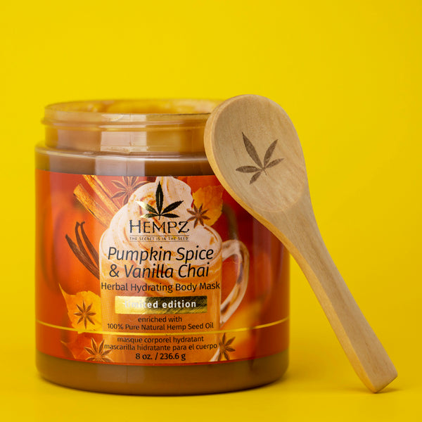 Limited-Edition Pumpkin Spice & Vanilla Chai Herbal Body Mask, Open with Spoon